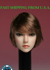 1/6 Female Short Brown Hair Head Sculpt For Phicen Hot Toys PALE Figure ❶USA❶