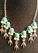J Crew chunky necklace, green and yellow stones