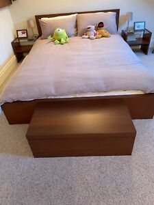 IKEA Malm Double Bed, Two Bedside Tables & Bedlinen Chest