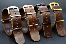 Bracelet montre NATO en cuir,Zulu militaire strap,adapté à la main Rolex,18-24mm