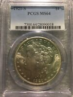1921 S Morgan Silver Dollar PCGS MS64 Last Year Coin