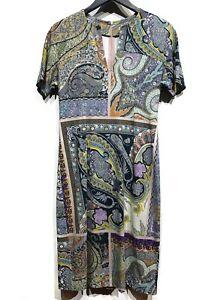Etro Blue Green Multicolour Paisley Print Stretch Short Sleeves Dress Size 40 IT