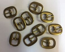 12 Oval Shaped Brass Finish Buckles. S45. 10mm. Ideal for Belt Making, craft etc