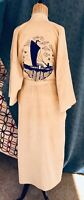 ANTIQUE CHINESE RAW SILK HAND EMBROIDERED ROBE KIMONO Embroidered Ship