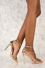 Prom Wedding Metallic Rhinestone High Heels Stiletto Sandals Shoes Pumps H208