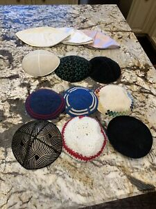 Lot of 12 Vintage Jewish Kippah Yarmulka Kippa Yamaka Cap Hat Silk Satin Leather