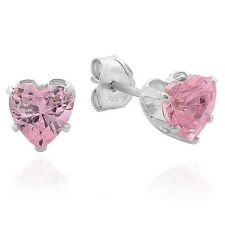 925 Sterling Silver Stud Earrings 5 mm Heart Shape Cubic Zirconia Light Pink