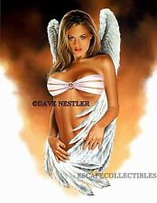 "Dave Nestler Signed Pin Up Girl Art Print ""Angel Eyes"" 11x14"