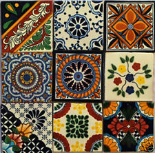 W137  -- Set of 9  Mexican Tiles Hand-Made 4 x 4 Inches