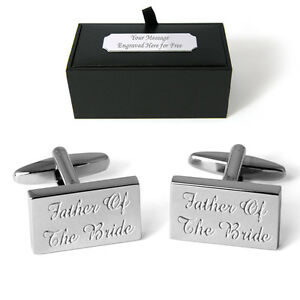 Father Of The Bride Cufflinks Personalised Engraved Gift Box Wedding Present