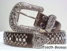 Women New Western Rodeo Rhinestone Crystal Bronze High Quality Bling Belt Large