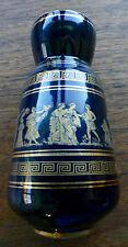 "NEOFITOU KERAMIK Hand Made GREEK VASE 24 K Gold Vase Ceramic 5.5"" Black/Blue NF"