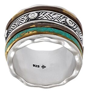 Silpada 'Isabella Spinner' Sterling Silver CZ Patina Brass Ring Size 5-11