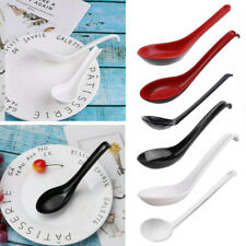 6 Noodle Soup Ramen Spoons Long Handle Hook Utensils Flatware Asian Tableware Us
