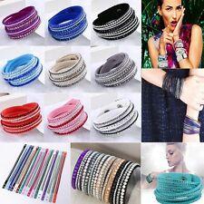 Hot Jewelry Leather Wrap Multilayer Wristband Cuff Bracelet Bangle Crystal