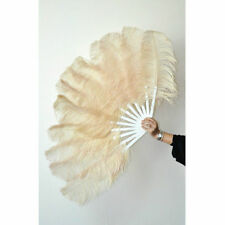 """Beige  2 layers Ostrich Feather Fan  30""""x 54"""" with gift box Burlesque dance"""