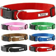 Bunty Adjustable Soft Fabric Dog Puppy Collar with Buckle and Clip for Lead