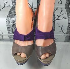 Poetic Licence Ocean View Taupe Leather Purple Suede Slingback US 8 Minimal Wear
