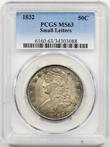 1832 Small Letters 50C PCGS MS 63 Capped Bust Half Dollar