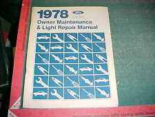 1978 FORD MERC MUSTANG PINTO BOBCAT T-BIRD COUGAR MORE DO IT YOURSELF MANUAL vg