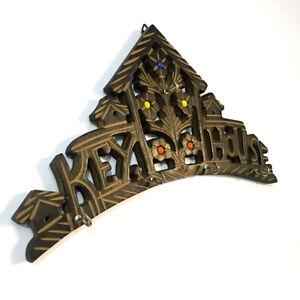 DIY Wood Key Hanging Brown Keys Holder Hook Hut Shape Home/Garden Decor Gifts Ne