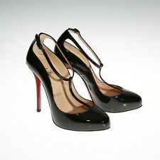 53a187930a78 Christian Louboutin T-Strap High Heels Pump Mary Janes Patent Black Size 36  US 6