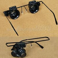 20 X Jeweler Watch Repair Magnifier Magnifying Eye Glasses Loupe Lens LED Tools