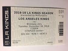 LOS ANGELES KINGS VS WINNIPEG JETS DECEMBER 18, 2018 TICKET STUB