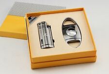 COHIBA Jet Flame Cigar Lighter and Cigar Cutter Set In an Attractive Gift Box