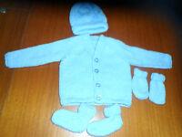 hand knitted baby boy blue v neck cardigan set 0-3 months