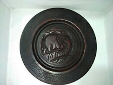 Graven wood plate Handmade Craft Home Restaurant Lobby office Table Decorate