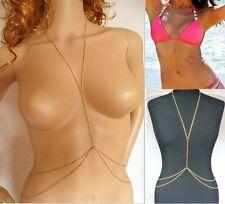 UK Fashion Harness Crossover Body Chain Belly Waist Bikini Beach Slave Necklace