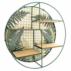Round Fernology Metal Wall Storage Display Shelf Multi Section Wooden Backing