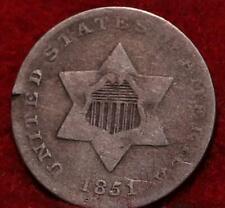 1851 Philadelphia Mint Silver Three Cent Coin
