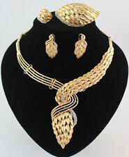 African 18K Gold Ring Earrings Necklace Bracelet Chrystal Bridal Jewelry Set #3