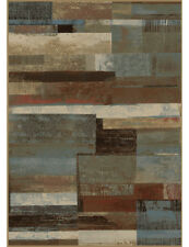 Scenic Vision Area Rug Lodge Cabin Rustic Abstract Panel Beige Blue Brown