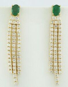 4.58 Carat Natural Emerald 14K Solid Yellow Gold Diamond Earrings
