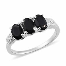 925 Sterling Silver Black Spinel Trilogy Ring Jewelry Gift for Women Ct 1
