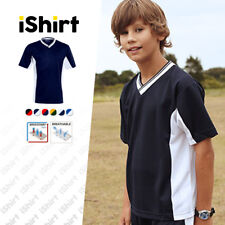 KIDS T-SHIRT 100% POLYESTER BREATHABLE SOCCER SIDE PANELS SPORTY JERSEY TEES