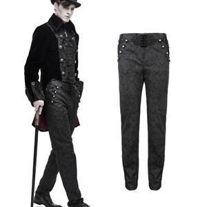 DEVIL FASHION Viktorianische Stretch-Brokathose/Jeans Black Gothic Brocade Pants