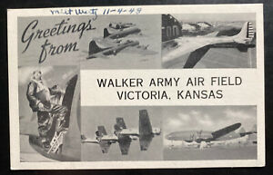 1943 US Army Victoria KS Bomber Sqdn Picture Postcard Cover Walker Army