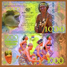 Netherlands Guinea (Ghana) 1000 Gulden, 2016 Private Issue POLYMER, UNC > Monkey