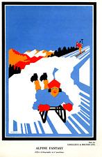 Rare Vintage Handbill Poster Alpine Fantasy Lorilleux & Bolton Inks Circa1930