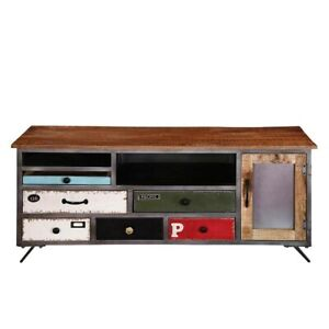 Made to Order Vivid Industrial Indian Solid Wood & Iron Accent Tv Media Console