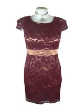 REVIEW Dress - Vintage Retro Style Lace Satin Maroon Rose Pink Bow Belt Cap - 14