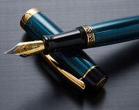 Xezo Maestro LeGrand Dioptase Blue-Green Fountain Pen, Fine Point. 18k Gold Pltd