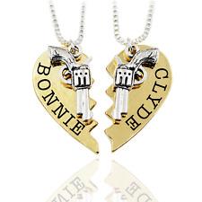 2 pcs Bonnie and Clyde Pendant Necklaces Guns Heart Friendship