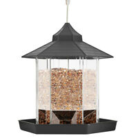 Bird Feeder Plastic Hanging Bird Feeder with Roof and Tray for Garden Backyard