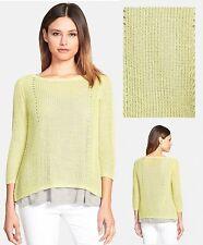 $188 Eileen Fisher Organic Linen Pointelle Knit Honeydew Scoop Neck Sweater Top