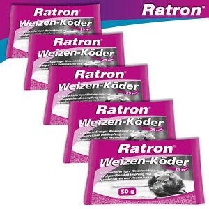 Frunol Delicia 5 x 50 g Ratron® Weizenköder 29 ppm Rattengift Giftköder